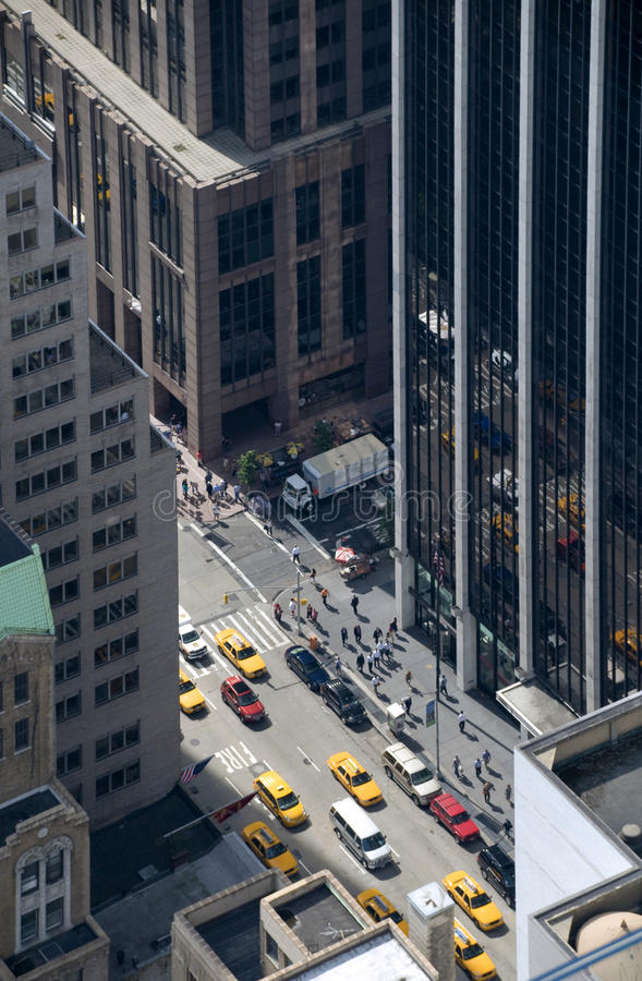 Streets of Manhattan as seen from above royalty free stock photo