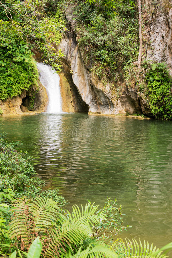 Caburni vattenfall och pöl nära Trinidad Cuba royaltyfri fotografi