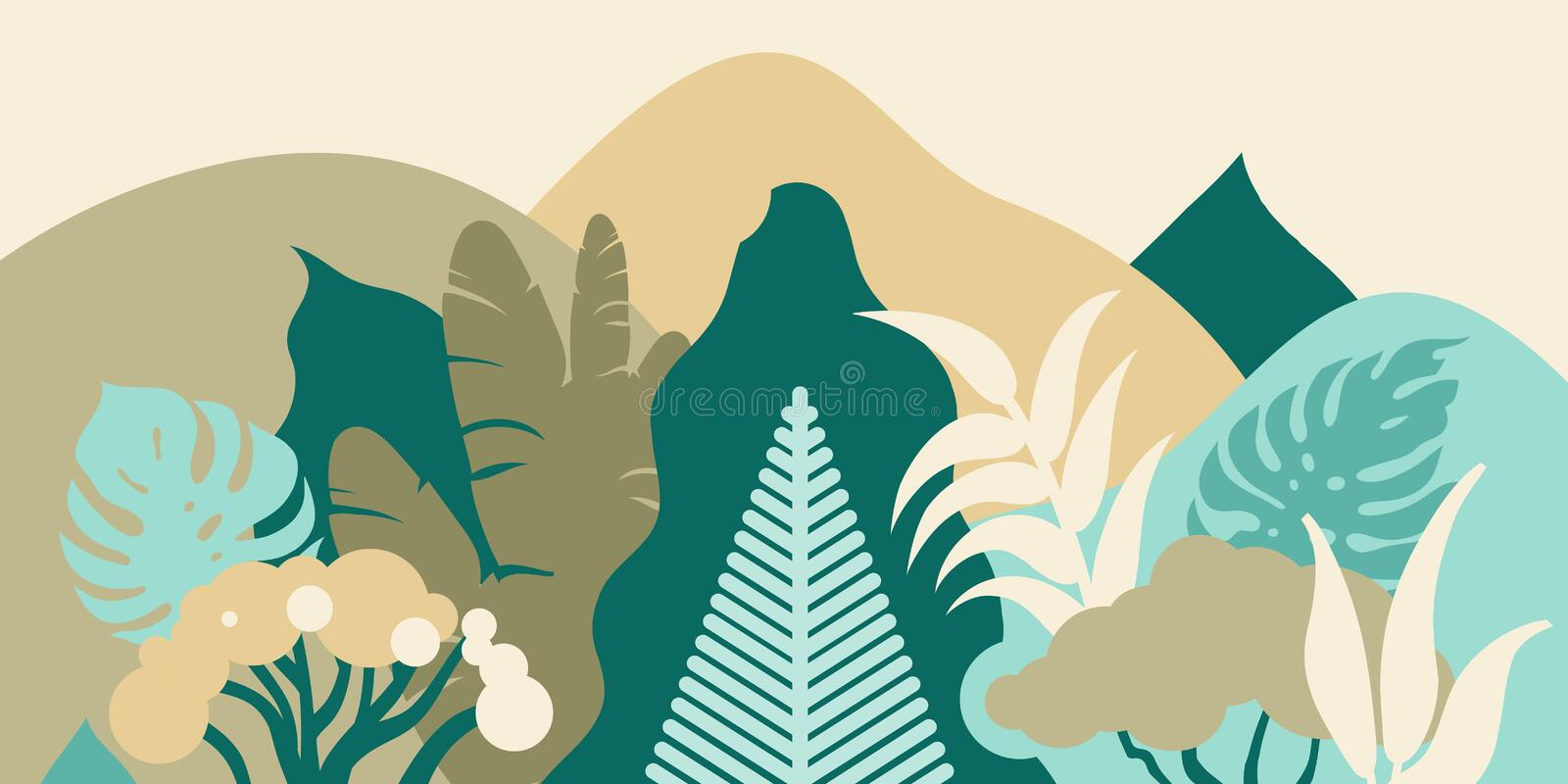 Forest in the mountains with tropical plants. Landscape for tourism. Preservation of the environment. Park, outdoor space. vector illustration