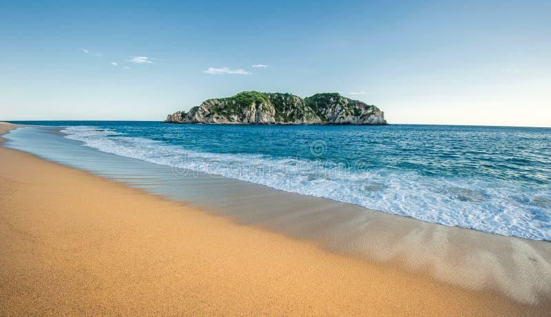 Cacaluta beach in Huatulko, Oaxaca, Mexico. Beautiful Cacaluta beach in Huatulko, Oaxaca, Mexico royalty free stock images