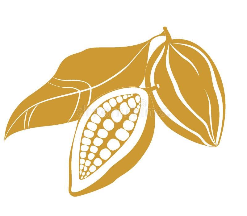 cacao фасолей иллюстрация штока