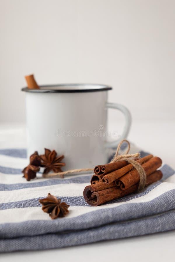 Cacao aromatizado con especias Fondo blanco imagen de archivo libre de regalías
