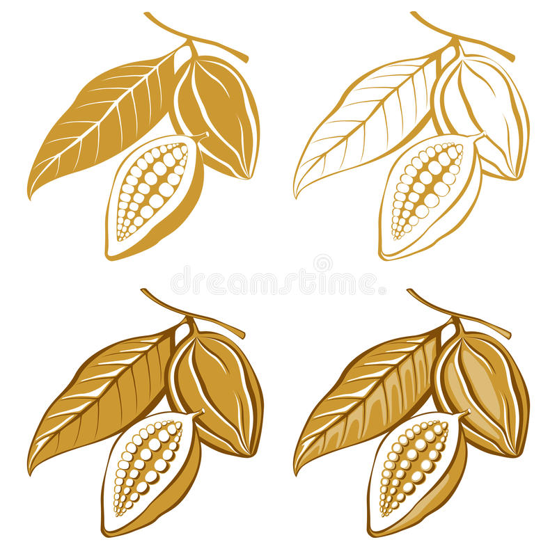 Cacao beans. 4 icons of cacao beans