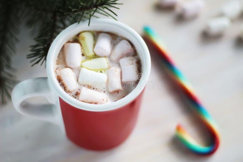 Cacao caldo con le caramelle gommosa e molle ed il bastoncino di zucchero fotografia stock