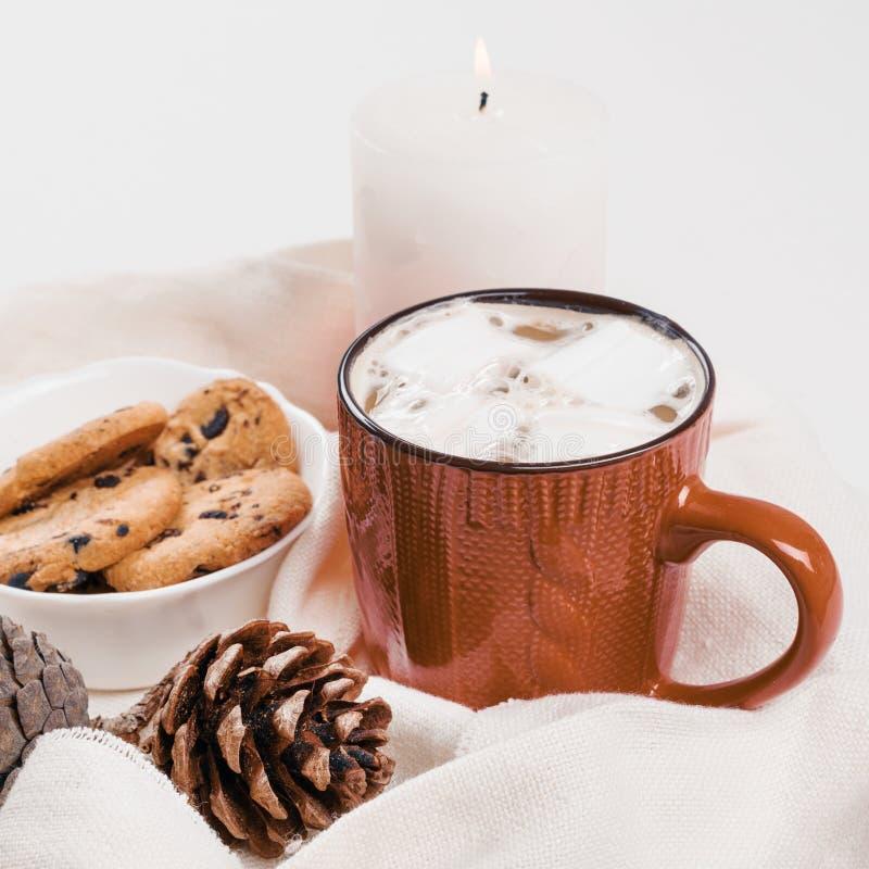 Cacao caldo tradizionale della bevanda di Natale con la caramella gommosa e molle ed i biscotti con i cali di cioccolato in tazza fotografia stock