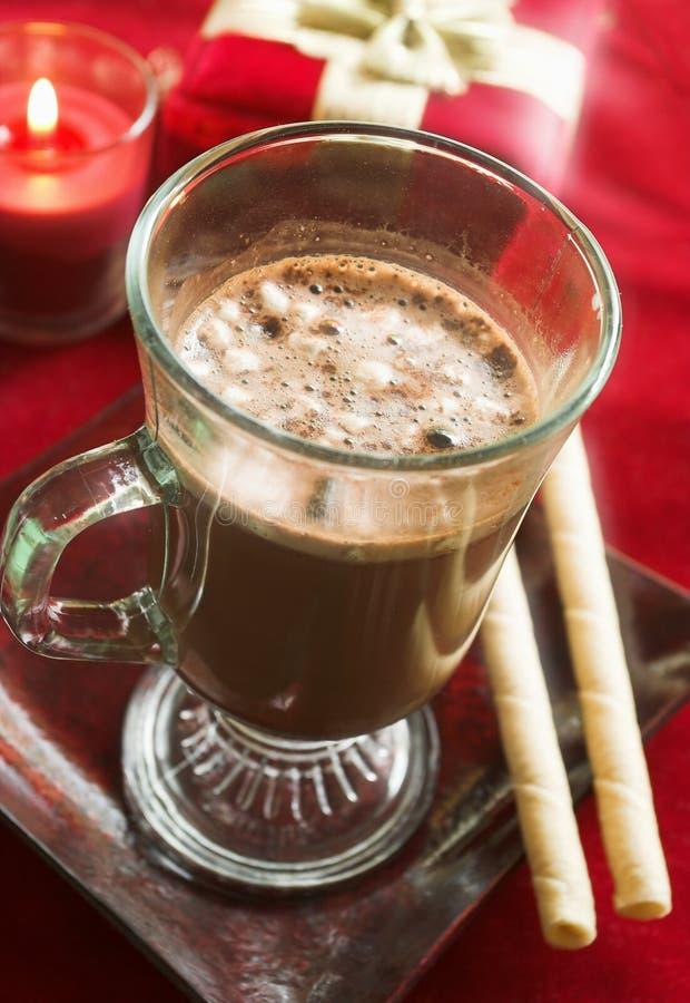 Cacao caliente con las galletas foto de archivo