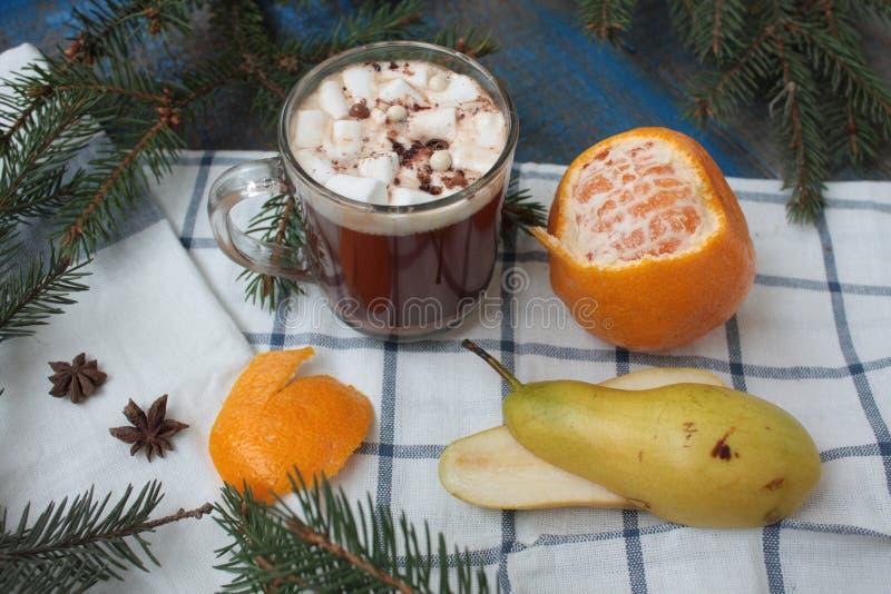 Cacao caliente de la Navidad con las melcochas y las crepes rusas ramas de árbol, canela, y galletas foto de archivo libre de regalías
