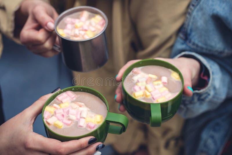 Cacao chaud avec la guimauve rose, plan rapproché images libres de droits