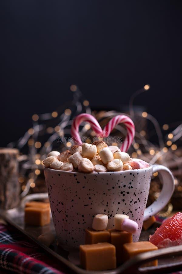 Cacao con las melcochas en una taza blanca, diversos caramelos de la Navidad y dulces Foto en estilo oscuro y espacio libre para  imagenes de archivo