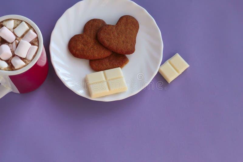 Cacao con las melcochas y las galletas del pan de jengibre fotografía de archivo libre de regalías
