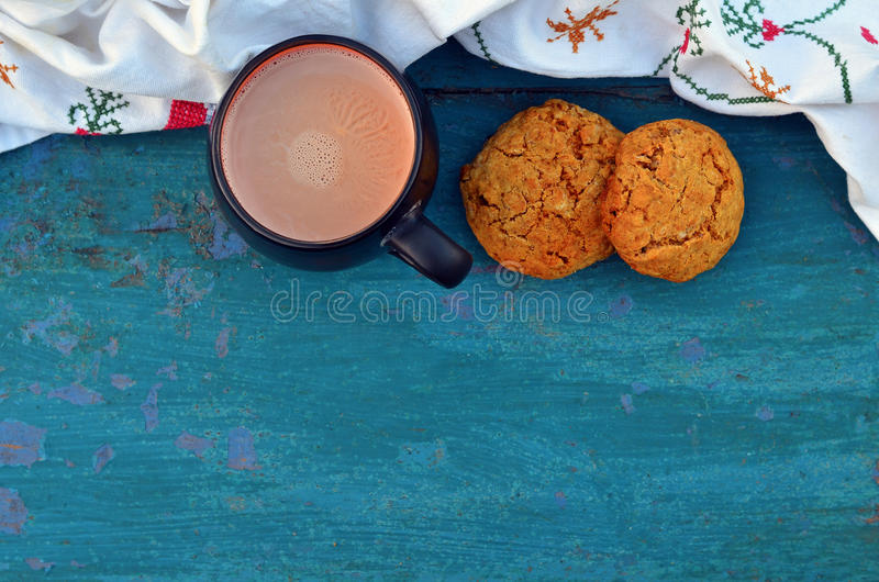Cacao with cookies royalty free stock photography