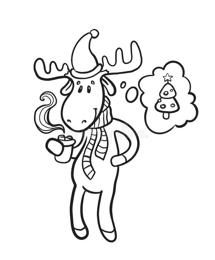 Cacao de consumición de los ciervos de la Navidad y sueños de un árbol de navidad Cacao caliente de la Navidad fotografía de archivo