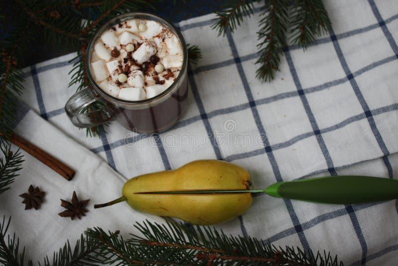 Cacao de la Navidad, mandarina, pera, cuchillo verde fotos de archivo