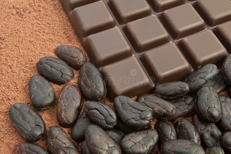 Cacao en chocolade royalty-vrije stock foto