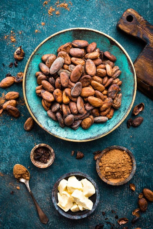 cacao Fave di cacao, bei pezzi scuri del cioccolato amaro, burro del cacao e cacao in polvere immagine stock libera da diritti