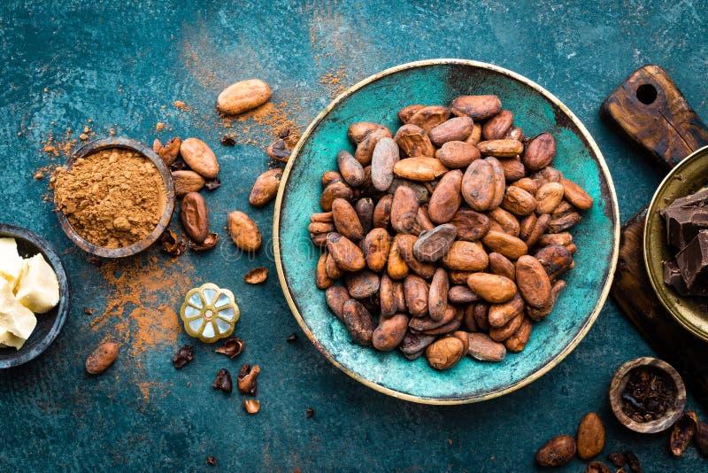 cacao Fave di cacao, bei pezzi scuri del cioccolato amaro, burro del cacao e cacao in polvere fotografie stock