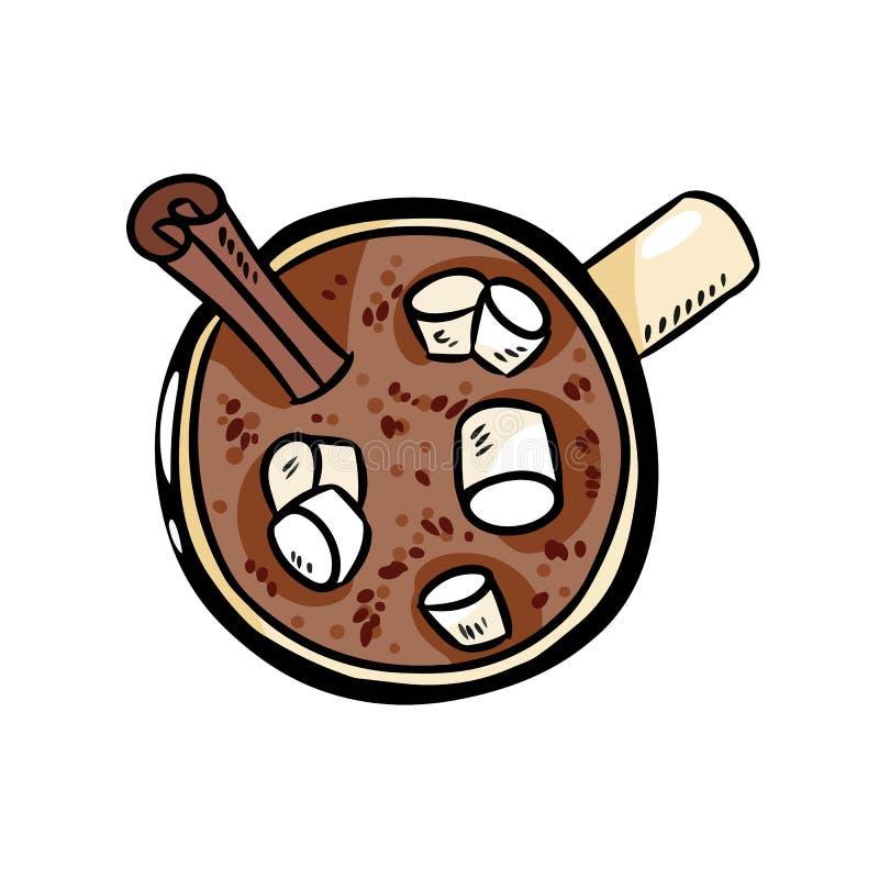 Cacao hete chocolade met heemst leuk beeld De hand getrokken comfortabele illustratie van de beeldverhaalstijl royalty-vrije illustratie