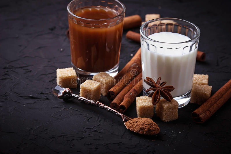Cacao, latte, zucchero e cannella immagini stock libere da diritti