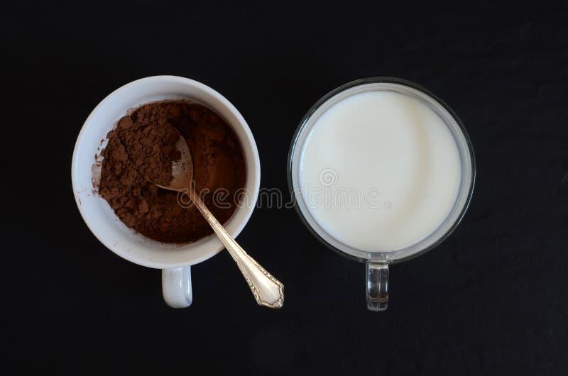 Cacao mleko i proszek zdjęcia stock