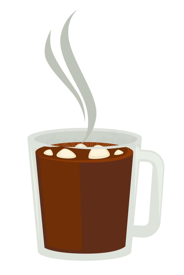 Cacao o cioccolata calda con la caramella gommosa e molle nell'oggetto isolato tazza di vetro illustrazione vettoriale