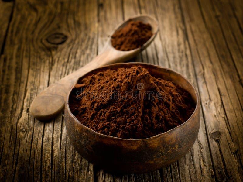 Cacao powder. On wood bowl