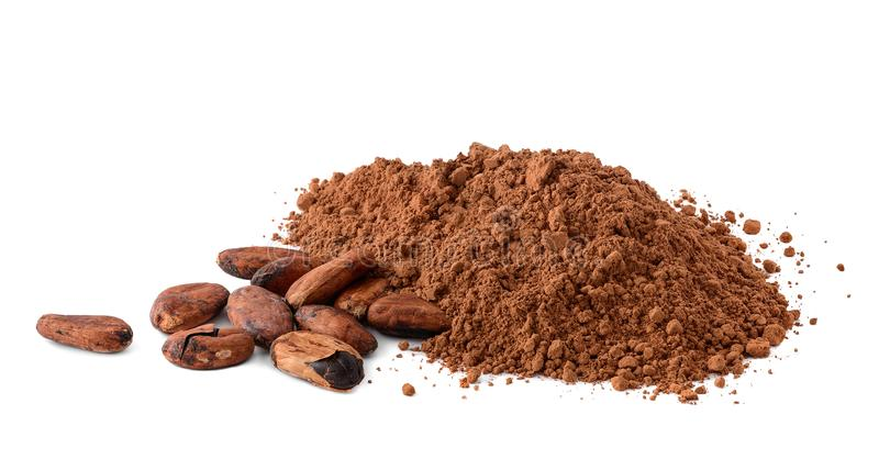 Cacao powder and cocoa beans isolated on white. Background royalty free stock images