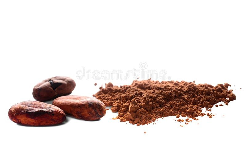 Cacao powder and cocoa beans isolated on white. Cacao powder and cocoa beans closeup isolated on white background stock photo