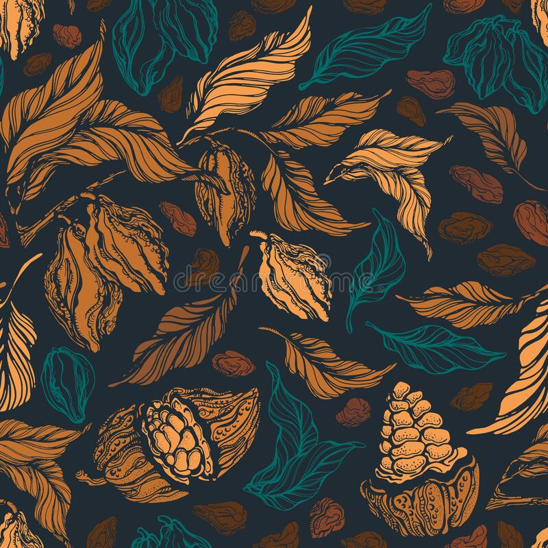Free Cacao Seamless Pattern. Vector Vintage Background Stock Photos - 170386733