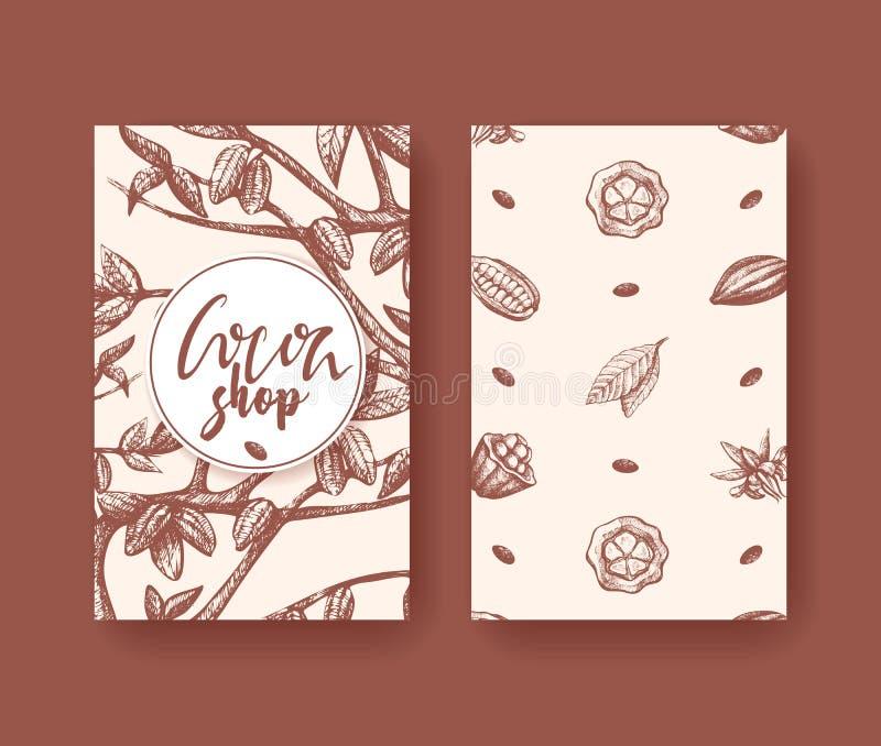 Cacao vectorillustratie van superfood twee kantenvlieger Fruit, blad en boongravure Organisch choco gezond voedsel vector illustratie