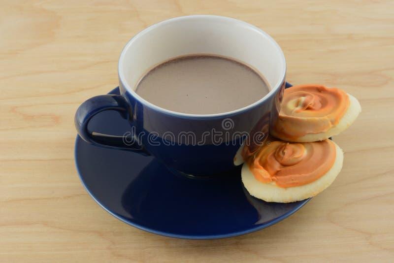 Cacao y galletas calientes imagen de archivo libre de regalías