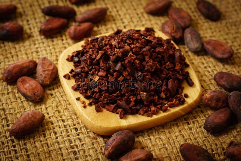 Cacaobonen en cacaobonen op jute royalty-vrije stock afbeeldingen