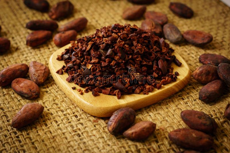 Cacaobonen en cacaobonen op jute stock afbeeldingen