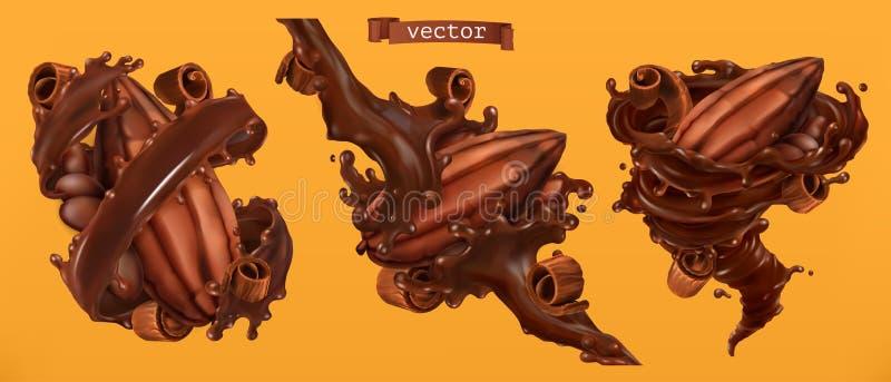 Cacaoboon en chocoladespaanders met plonsen 3d vector vector illustratie