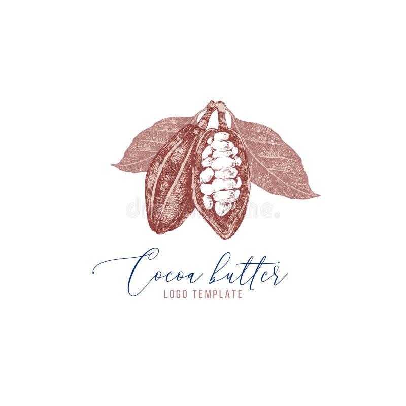 Cacaoboterembleem met hand getrokken cacaobonen vector illustratie
