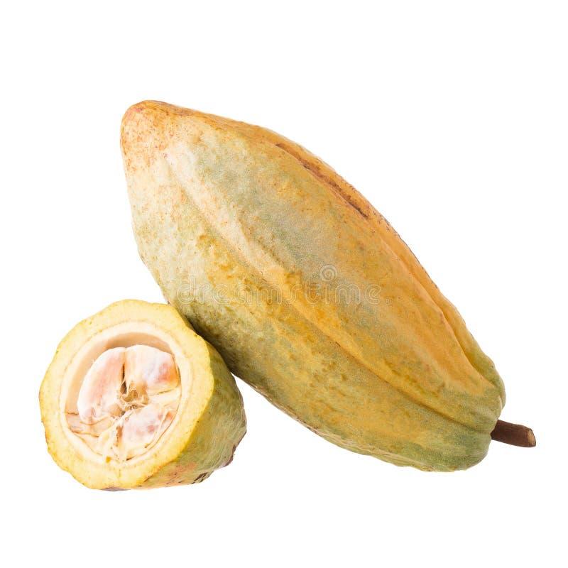 Cacaofruit, ruwe cacaobonen, Cacaopeul op witte achtergrond stock afbeeldingen