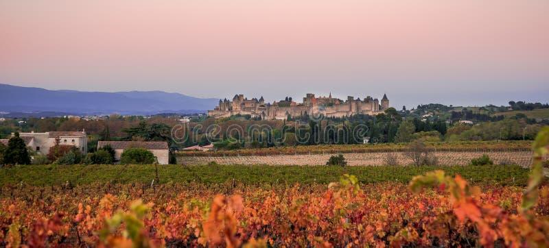 Cacassonne i morgonljuset royaltyfri foto