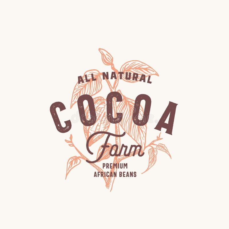 Cacau Bean Farm Abstract Vetora Sign, símbolo ou Logo Template Cacau tirado mão Bean Branch com vintage superior ilustração stock