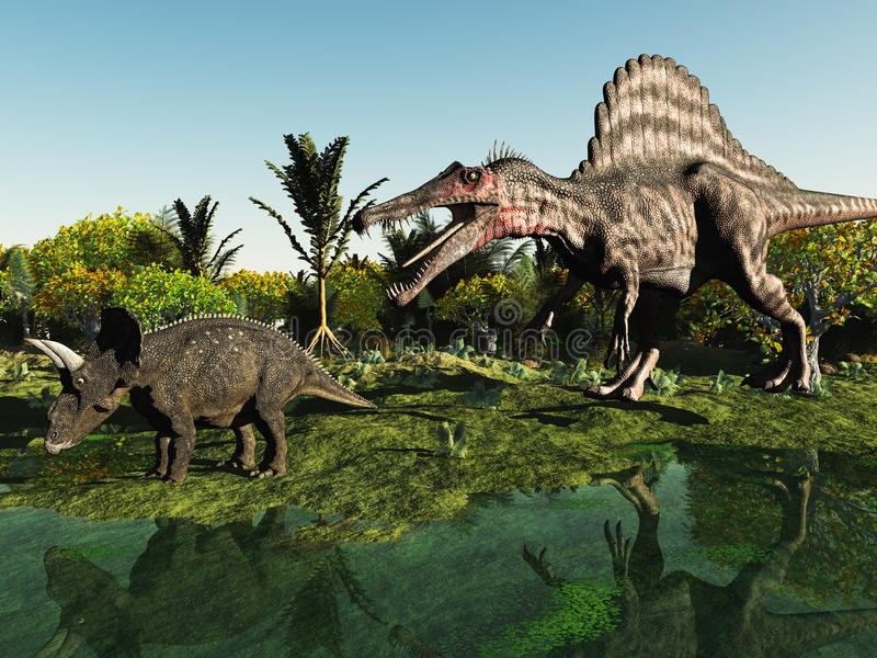 Caccia del dinosauro royalty illustrazione gratis