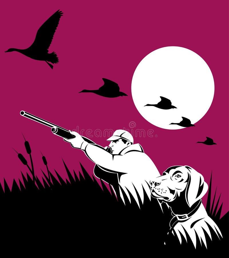 Caccia del gioco del cane e del cacciatore illustrazione vettoriale