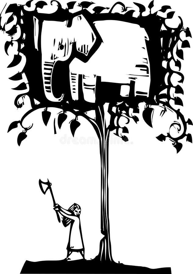 Caccia dell'elefante illustrazione vettoriale
