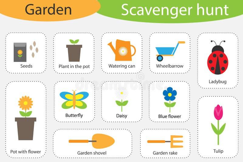 Caccia di organismo saprofago, tema del giardino, immagini variopinte differenti per i bambini, gioco di ricerca di istruzione di illustrazione di stock