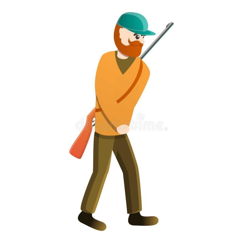 Cacciatore che va all'icona della foresta, stile del fumetto royalty illustrazione gratis