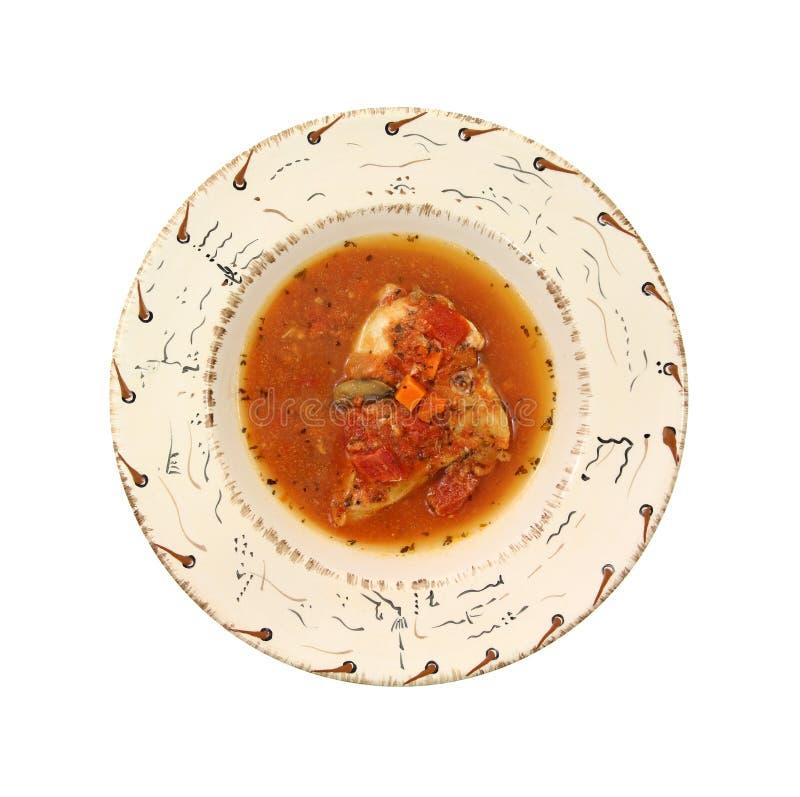 Cacciatore de portion ou de poulet dans la cuvette images libres de droits