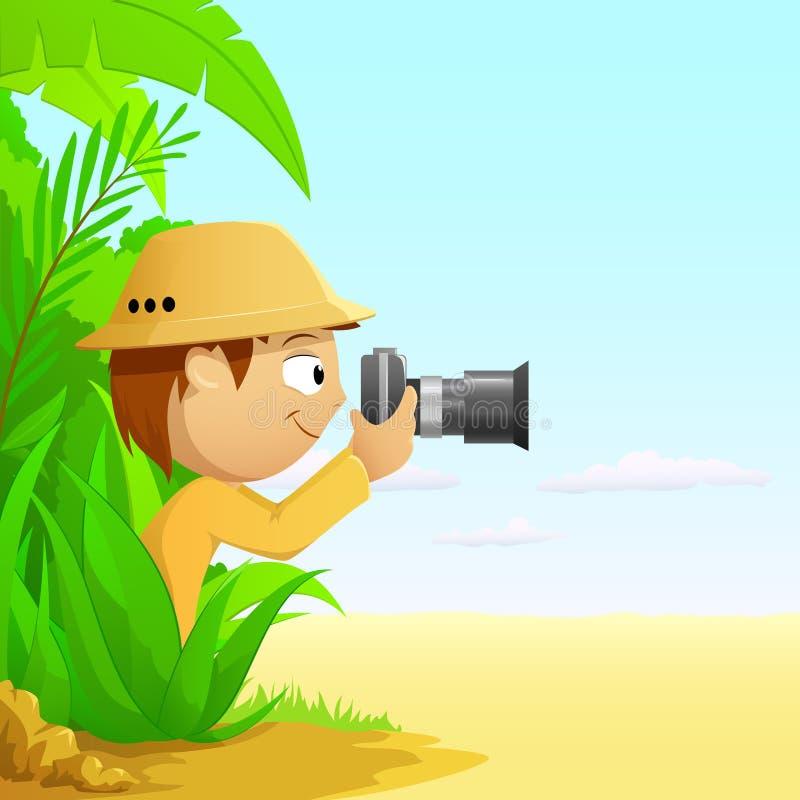 Cacciatore del fumetto del fotografo in foresta pluviale illustrazione di stock