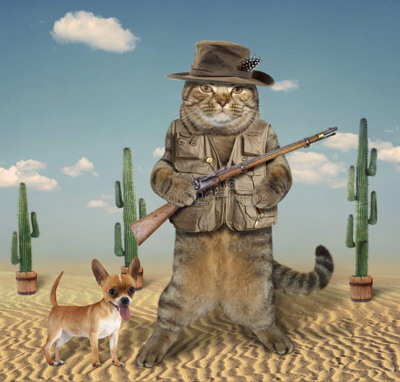 Cacciatore del gatto con il cane 4 immagini stock libere da diritti