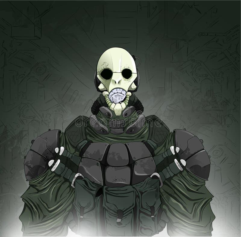 Cacciatore del vampiro o dello zombie Illustrazione di vettore del fumetto royalty illustrazione gratis