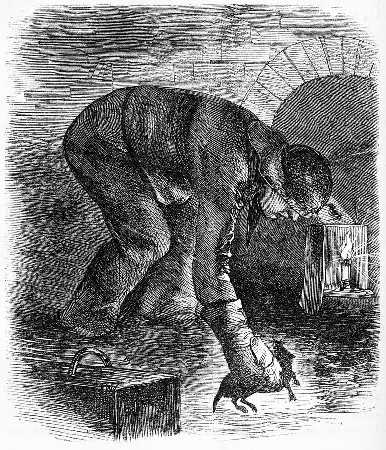 cacciatore della fogna che prende un ratto illustrazione vettoriale