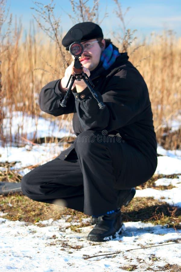 Cacciatore di inverno fotografie stock