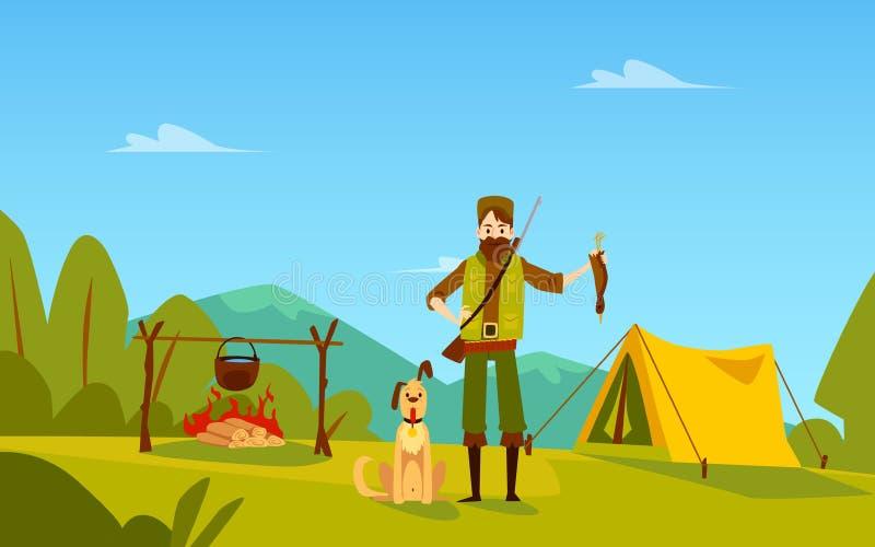 Cacciatore maschio con i supporti del cane vicino a stile del fumetto dell'uccello della tenuta della tenda e del fuoco di accamp illustrazione vettoriale