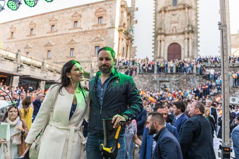 The leader of the far-right Vox party, Santiago Abascal, arrives at the rally held in the Plaza de San Jorge in Caceres. stock photos